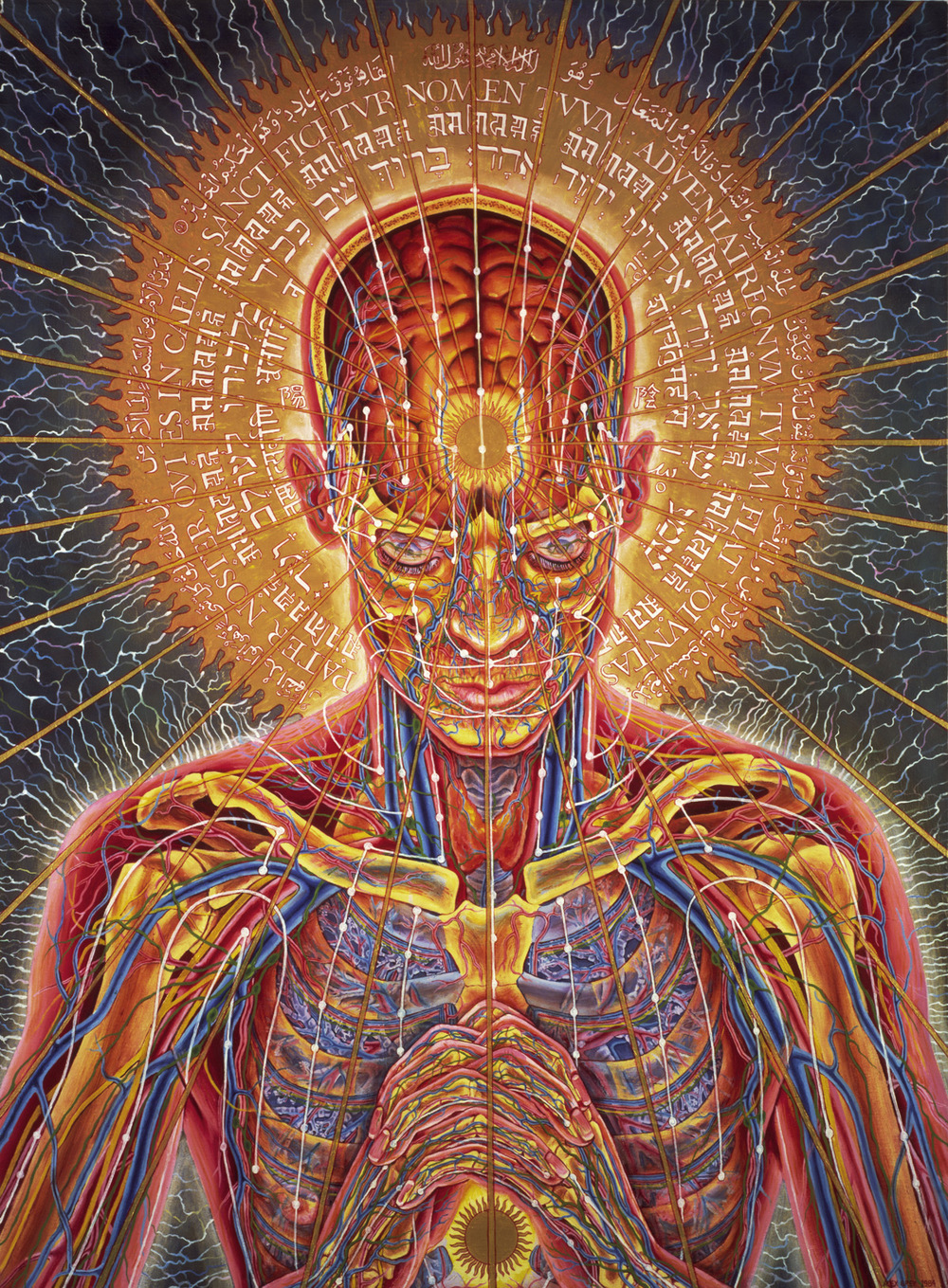 "Alex Grey, ""Praying,"" 1984, oil on linen, 48 x 36 in."