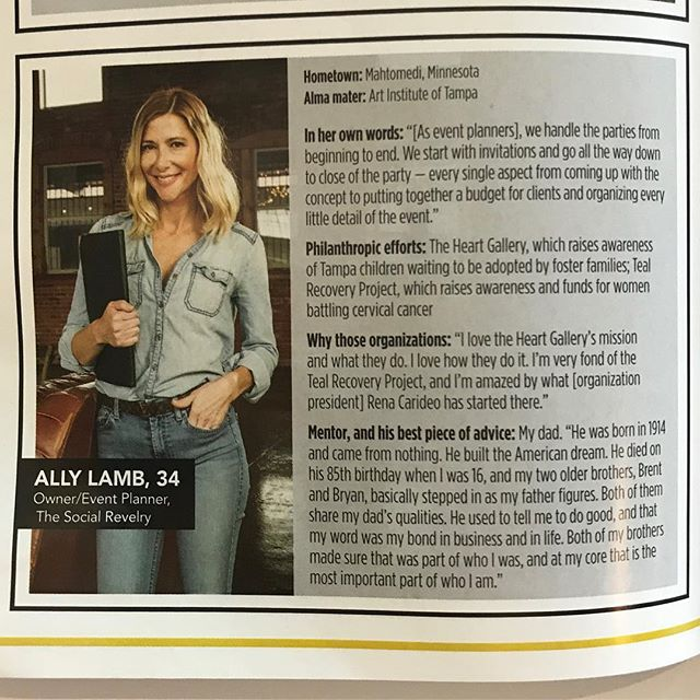 10 Under 40. Thanks for the honor @southtampamagazine Check out my two favorite charities @heartgallerytpa and my friends over @thetealrecoveryproject ❤️ They do amazing things in our community ❤️