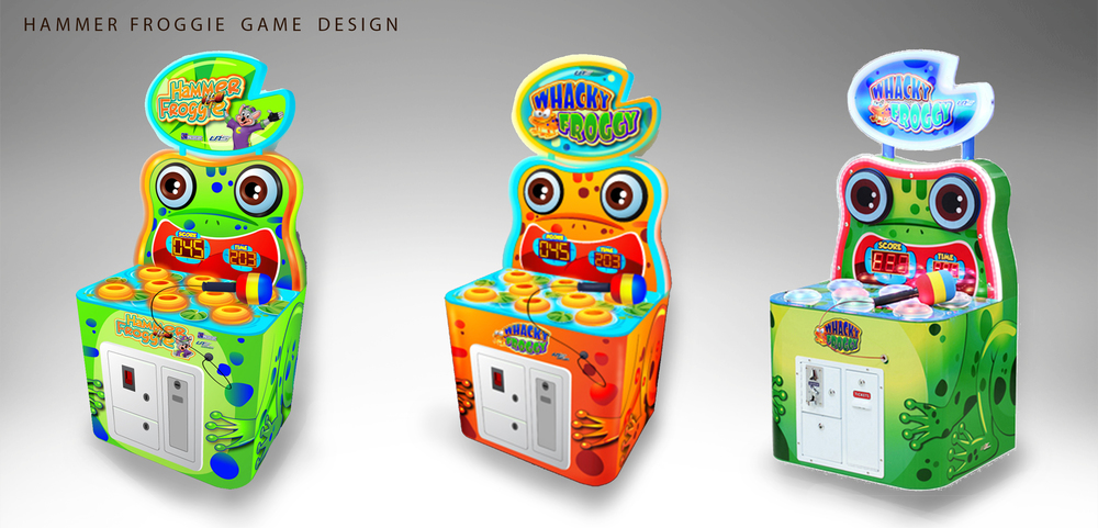 Hammer Froggie Game: Whack-a-mole game redesigned to suit clientele's needs. Designed the look of cabinet, all logos and stickers.
