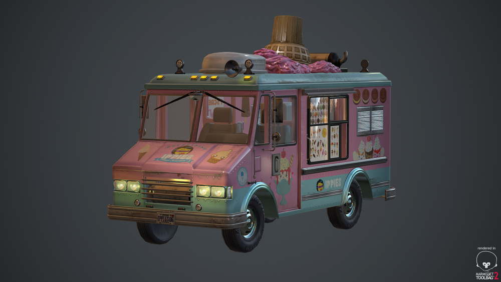 Ice cream truck that I modeled using 3ds max and ZBrush. Textured with Photoshop and rendered in Marmoset.