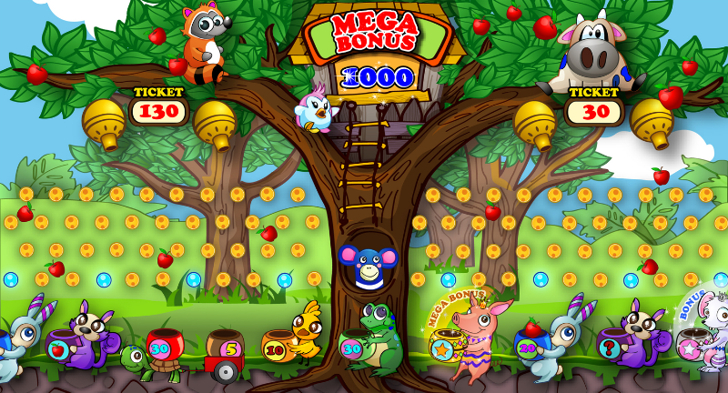 Interface design made for the Apple frenzy game. The client wanted a two player pachinko game made for children from 5-12. The game design, characters, backgrounds and all logos were designed by me.