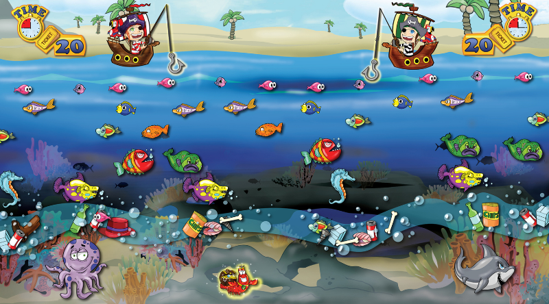 Interface design for Pirate's Hook game. Client wanted a game that revolved around a nautical theme for children from 6-14. The purpose is to hook as many fishes through obstacles in a limited time frame. I designed the game play, all characters, background and logos.