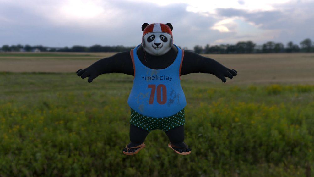 Rendering of panda modeled and textured by me.