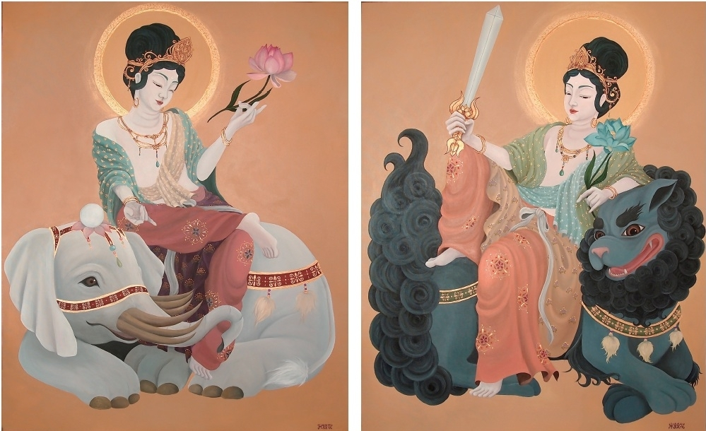 Right: 慈悲/Mercy Left: 智慧/Wisdom (2014) 91cm x 72.7 (F30) 91cm x 72.7 (F30) Acrylic on canvas