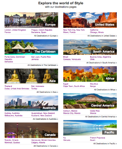 Destinations page at StyleHotels.com © Style Hotels
