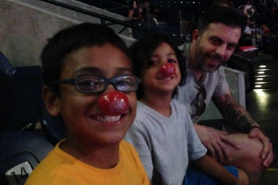 One of the cool things that we went home with, were cute little red clown noses. My boys were pretty excited about that, they were able to join in the silly antics that our clown friends were a part of!
