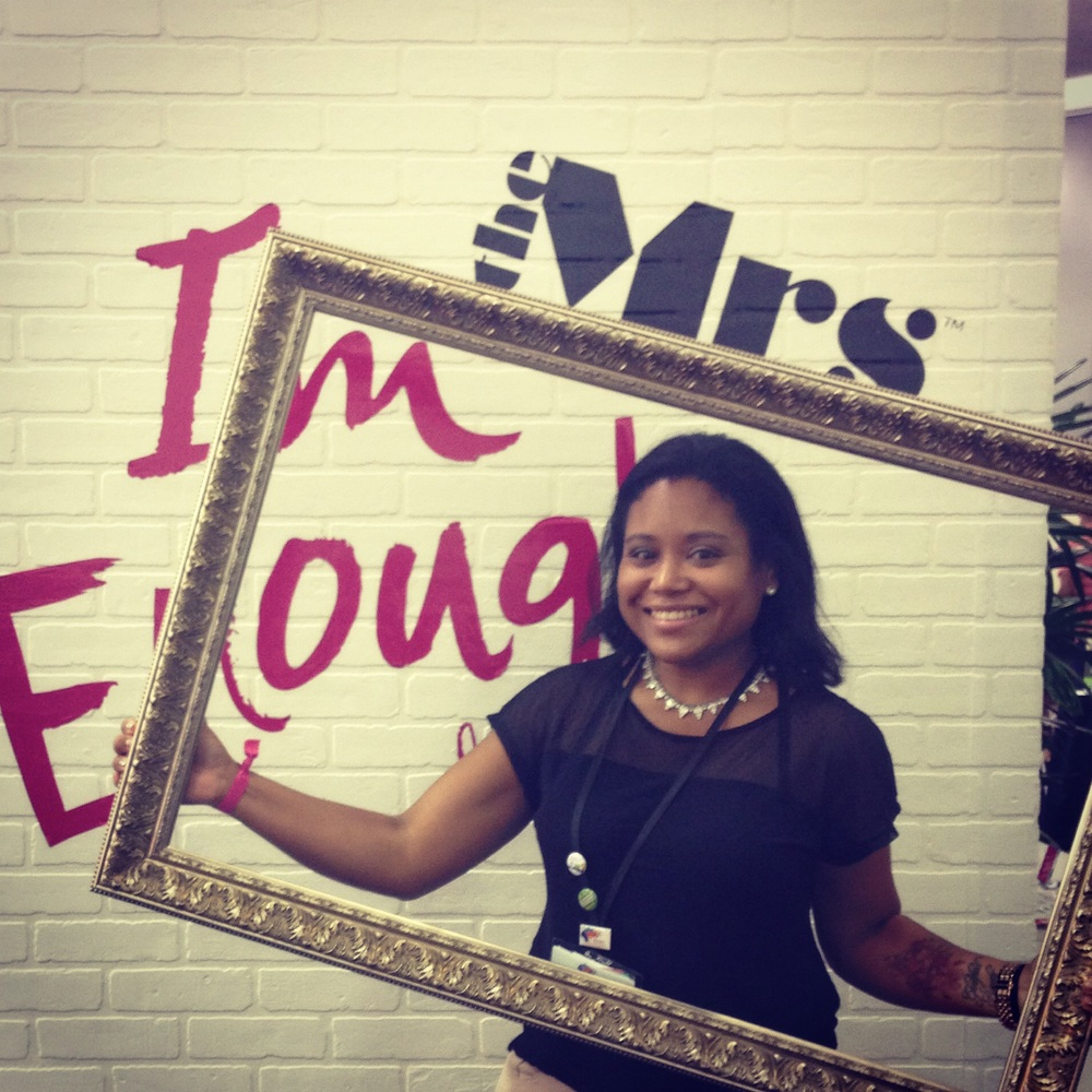 "Taken at BlogHer 2014 at The Mrs. Band booth promoting their debut single ""I Am Enough."""