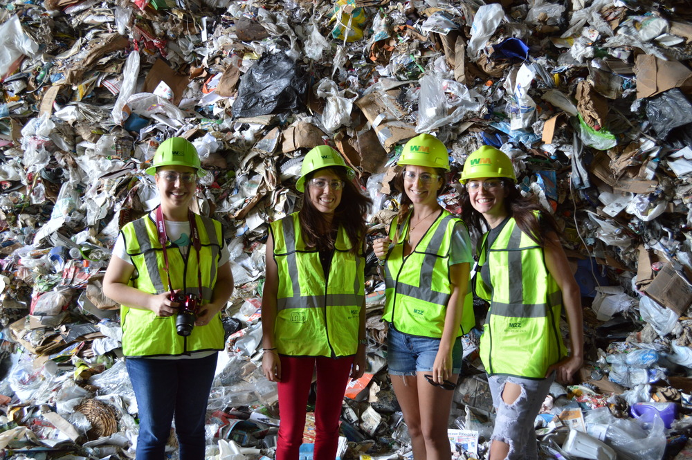 Debris Free Oceans toured Waste Management's Pembroke Pines recycling facility on February 24, 2016. Photographed above: Julienne Beblo, Shannon Jones, Tracy Nolan, and Ellie Perdomo (left to right).