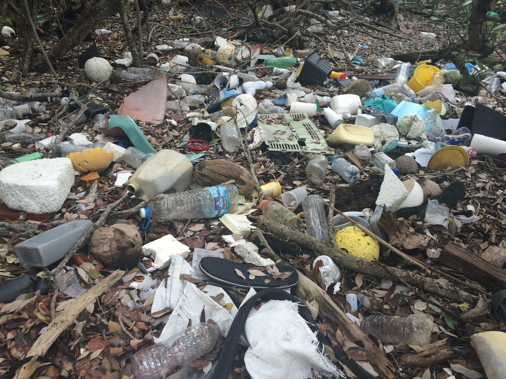 Marine debris accumulates heavily along the uninhabited islands in Biscayne National Park (BNP). This photo was taken on April 16, 2016 9nm offshore in BNP during one of Debris Free Oceans' cleanups.