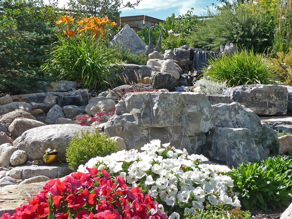 natural stream boulders and landscaping