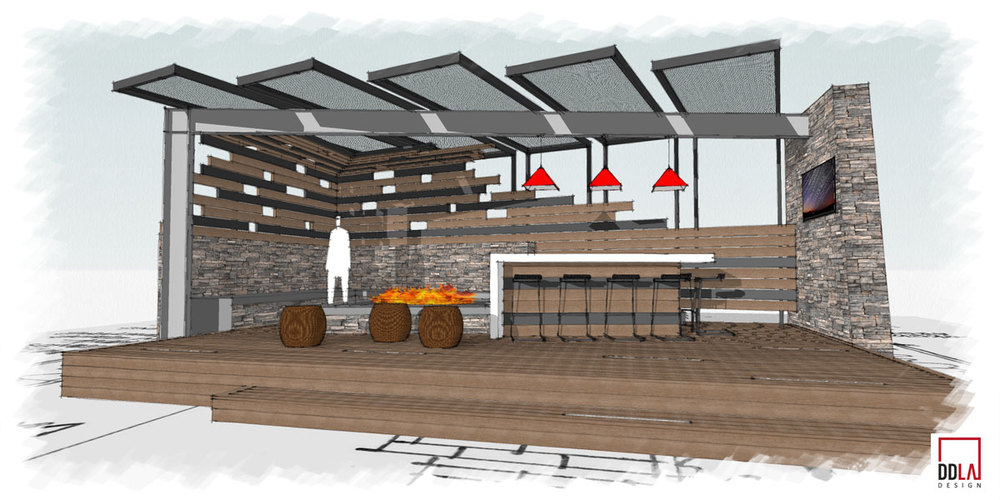 conceptual sketch outdoo living area