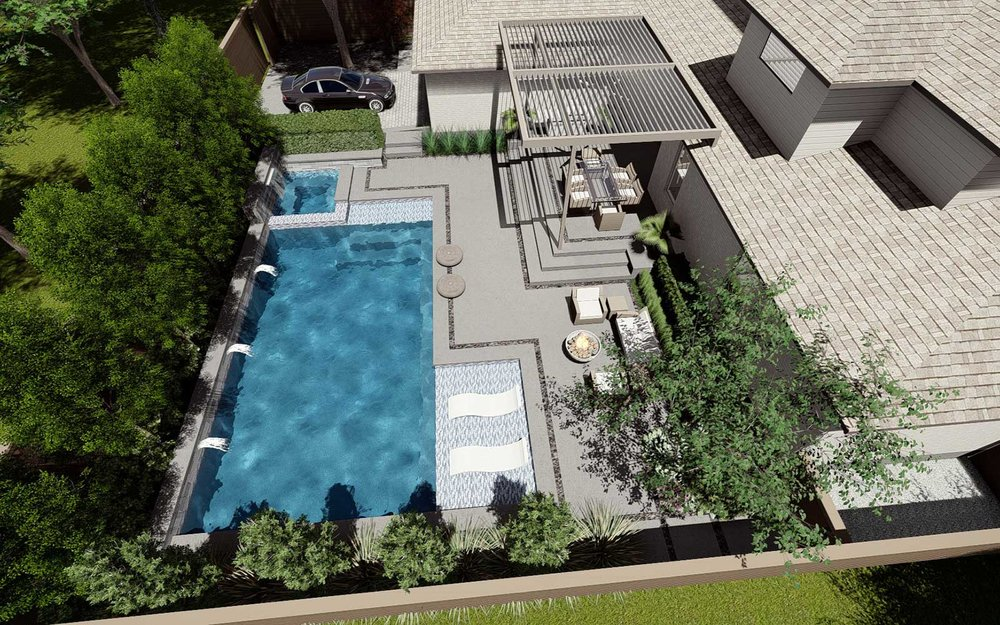 lakewood modern swimming pool and outdoor living area