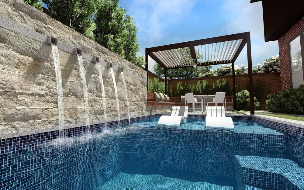 modern swimming pool water feature