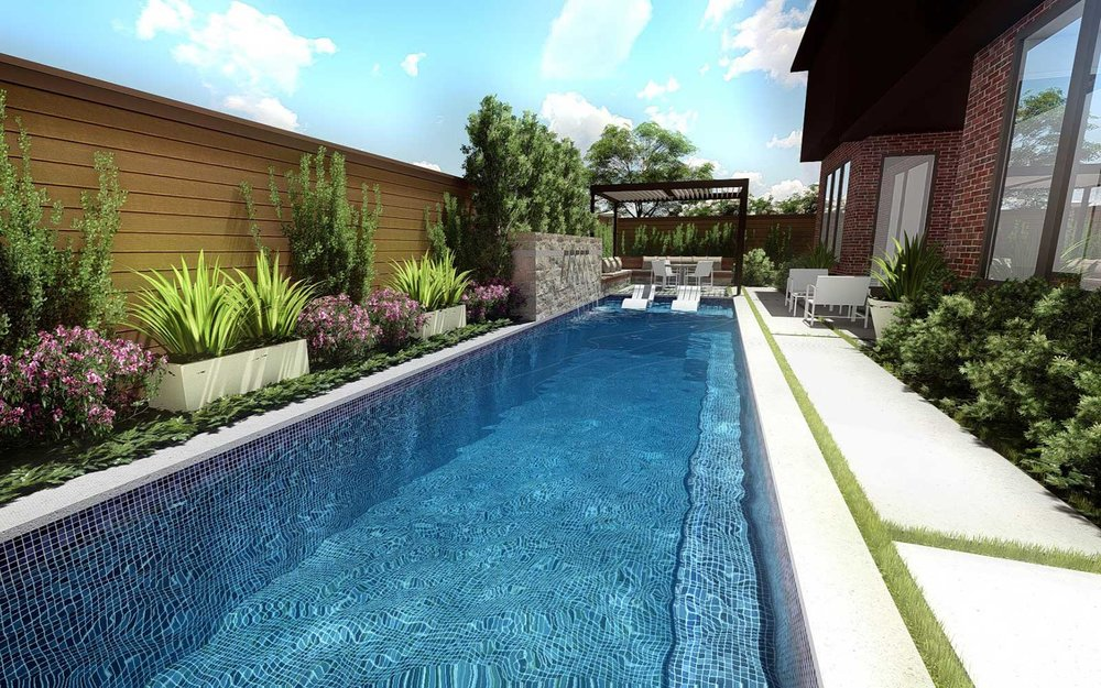 modern lap pool and garden