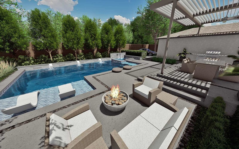 outdoor living area and swimming pool