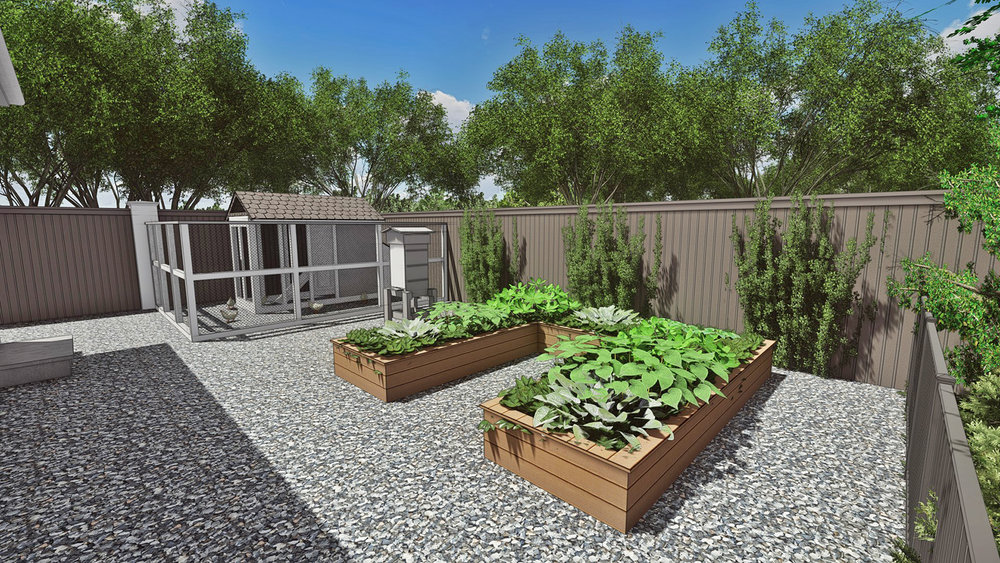 VEGETABLE GARDEN, BEE HIVE & CHICKEN COOP