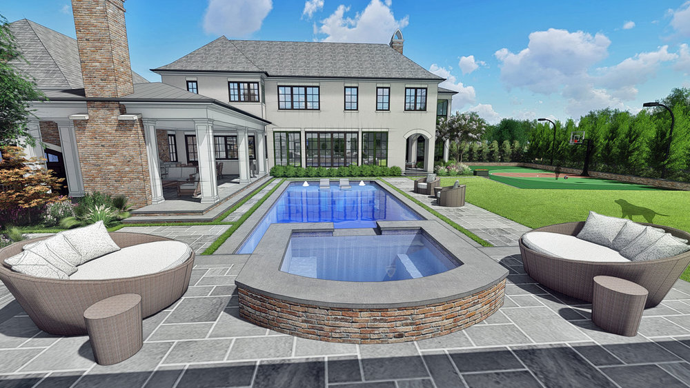 VIEW OF SPA & POOL TOWARD HOUSE