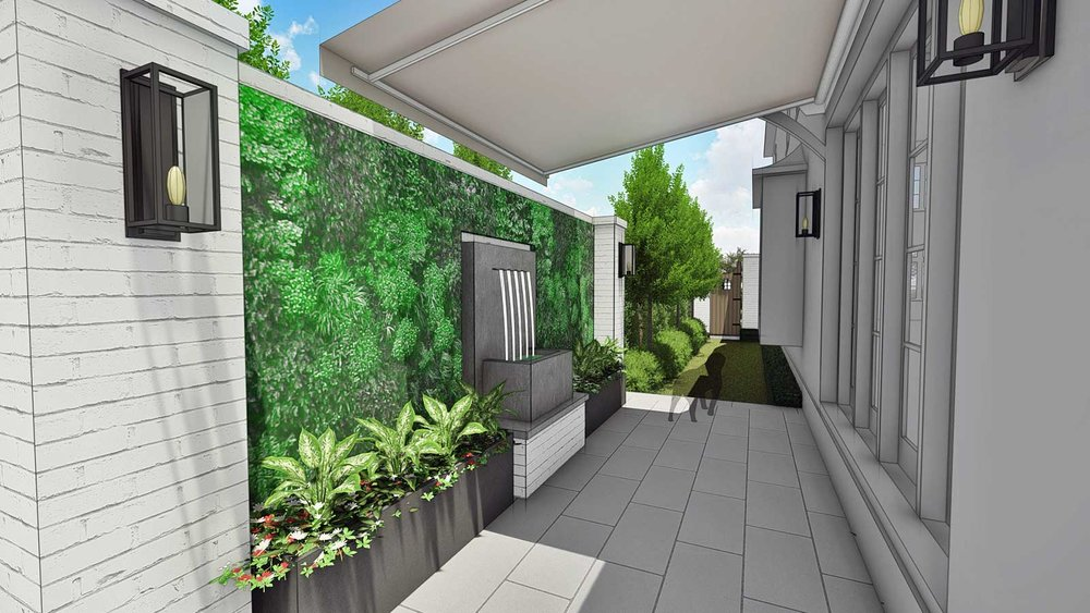 WALL FOUNTAIN & RETRACTABLE AWNING