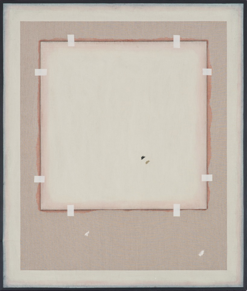 Peter Adsett   Painting number 5  2013  Gesso, acrylic paint, torn paper, masking tape, rice paper glue, linen, stretcher frame  106.5 x 91.5 x 2.2cm   AUD $9,000