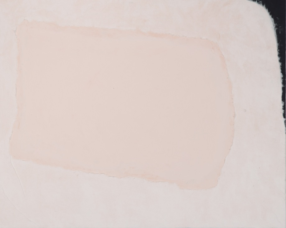 Peter Adsett   Painting number 8  2014  Gesso, acrylic paint, top coat, torn paper, linen, stretcher frame  57 x 70 x 2.2cm   AUD $3,500