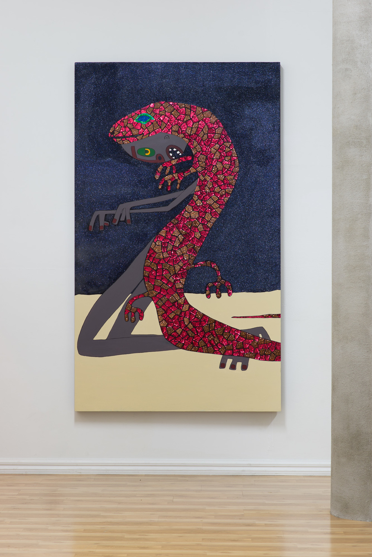 Hine-nui-te-po  2015  Acrylic, sequins, glitter on board  203 x 120 x 7cm
