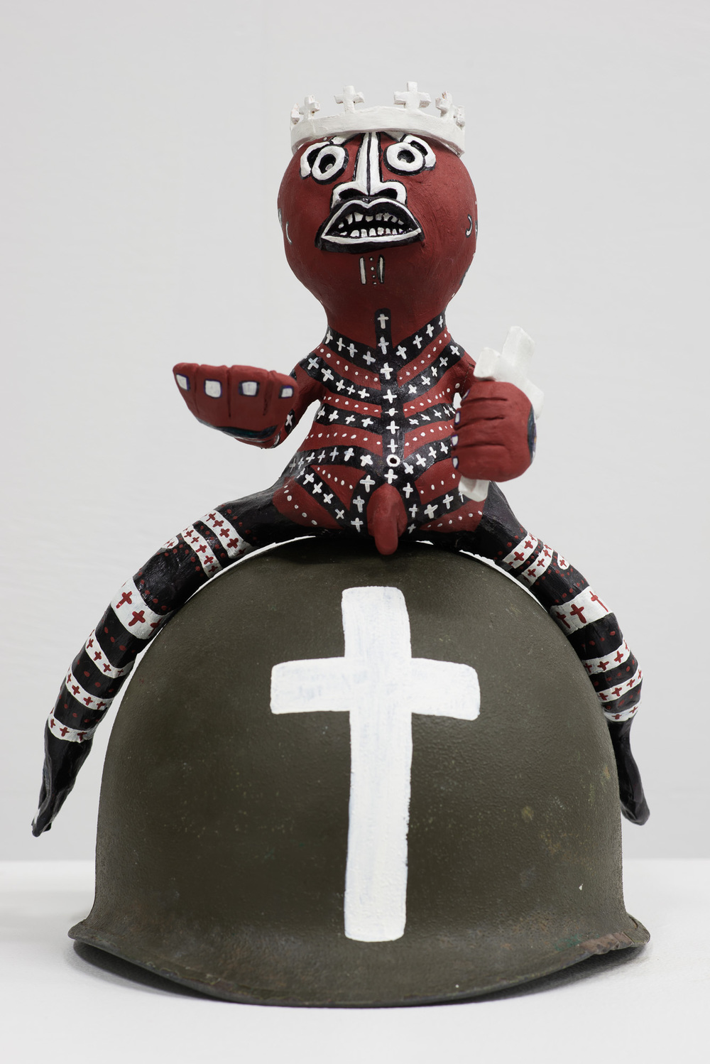 For God, For King, For Country  2015  Acrylic, sculpey, salt and vinyl on WWII metal Army helmet  40 x 26 x 30cm