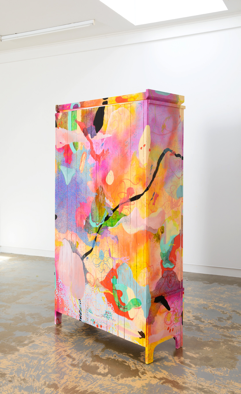 Evan Woodruffe, 27th July 2015, 1910 x 1075 x 430mm, acrylic, pumice, metal, glass, bone, string, gold and palladium leaf on vintage armoire (wood, glass, metal)