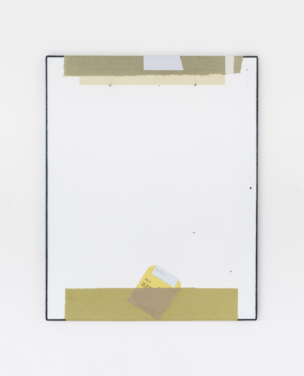 Painting No.3 2015 Awagami paper, Cole and Son wallpaper, sandpaper, wood veneer, envelope, blue card, nails, paint, linen, stretcher frame 40 x 50 cm $5000 USD
