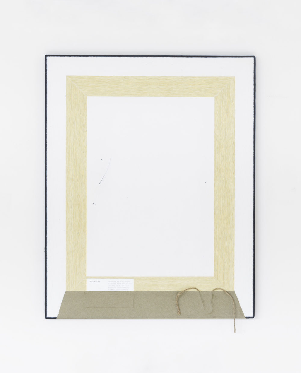 Painting No.5 2015 Awagami paper, vinyl wood adhesive, business card, brown string, paint, linen, stretcher frame 40 x 50 cm $5000 USD