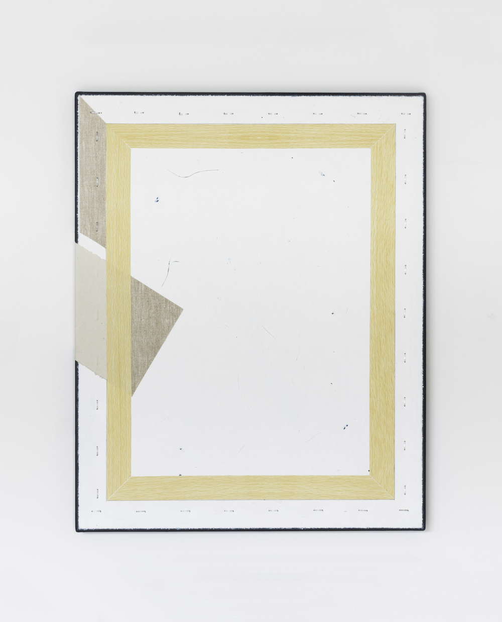 Painting No.9 2015 Awagami paper, vinyl wood adhesive, staples, paint, linen, stretcher frame 40 x 50 cm $5000 USD
