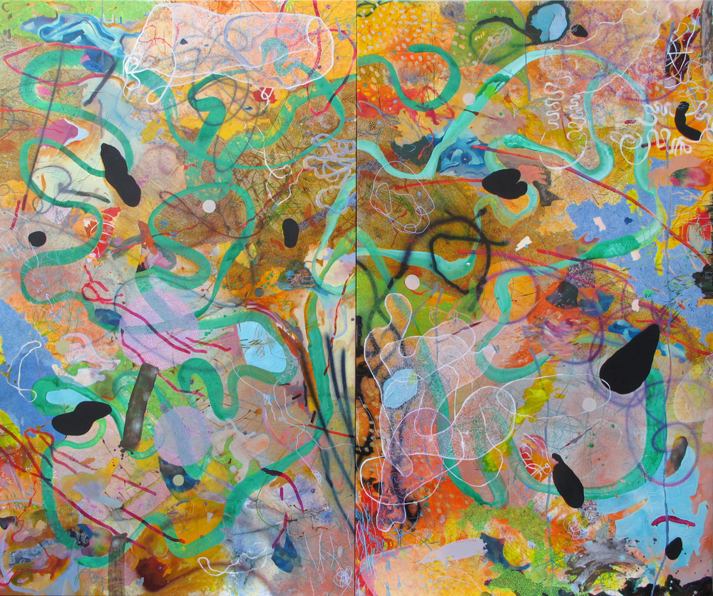 Evan Woodruffe, 16th April 2016, (diptych) each 300 x180cm, acrylic, sumi-e paper, fabric, earth, metal, on linen.JPG