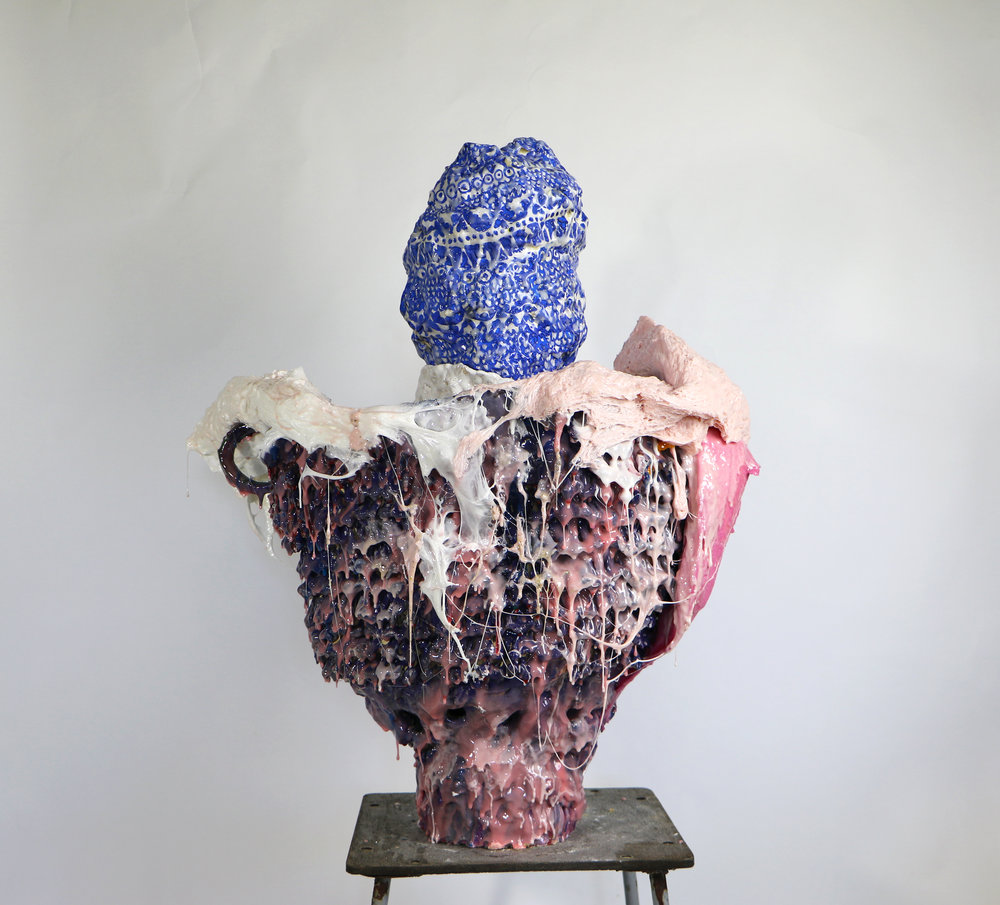 Flattery Will Get You No Where, 2016, Clay, glaze, and resin, 770 x 690mm.jpg