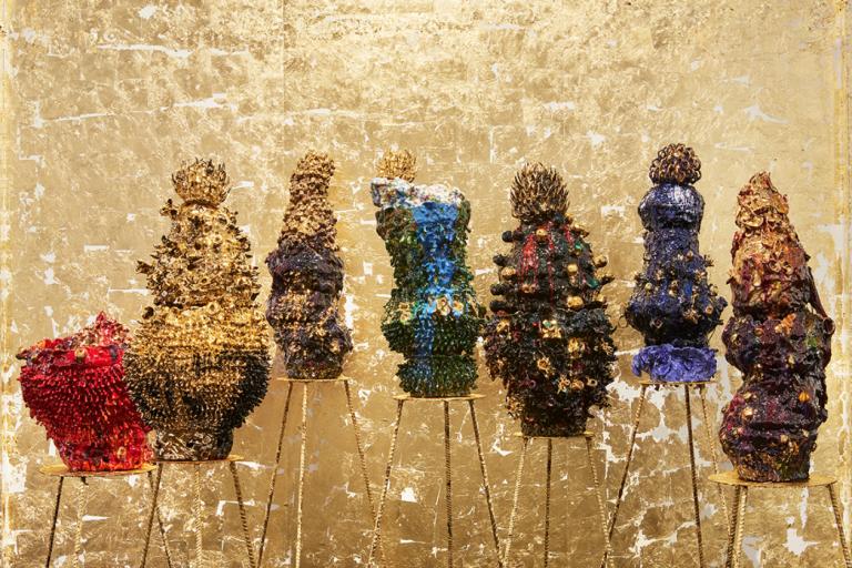 The work of ceramicist  Virginia Leonard at Melbourne Art Fair 2018. Photo: courtesy the artist