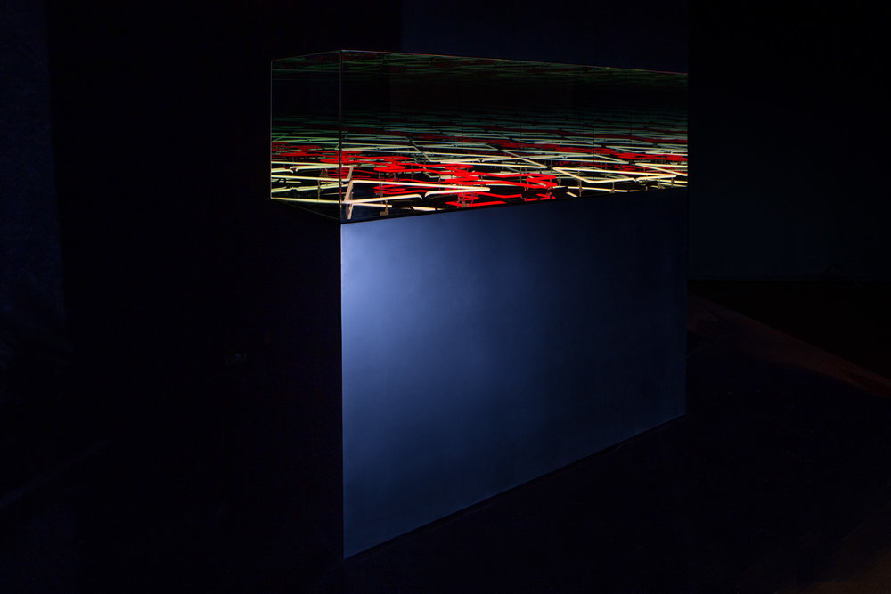Robert Jahnke, Ata tuatahi, 2016, MDF, paint, neon, one way glass, mirror, electricity, 1473 x 1506 x 1450mm (01-42).jpg