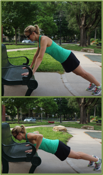 Bench Pushups: 12 reps