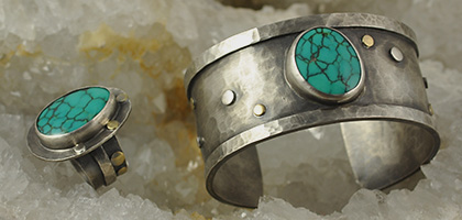 Turquoise Gemstone on Sterling Silver & 18K Gold Cuff and Ring