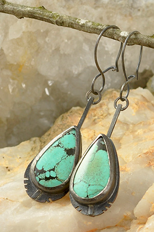Spiderweb Turquoise Sterling Silver Feather Earrings