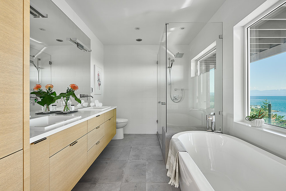 Master Bath of Rebuilt Modern House design and rebuild on steep lot on Gonzales Hill in Victoria BC by MDRN Built