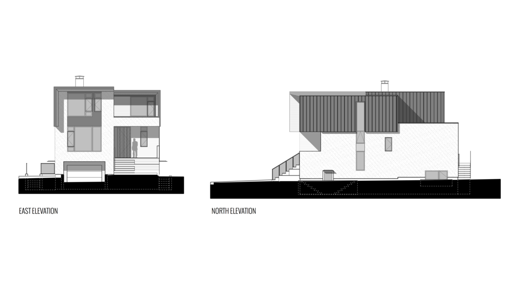 East and North Views of New Modern House designed and built for an interior urban lot on Clare Street in Victoria BC by MDRN Built