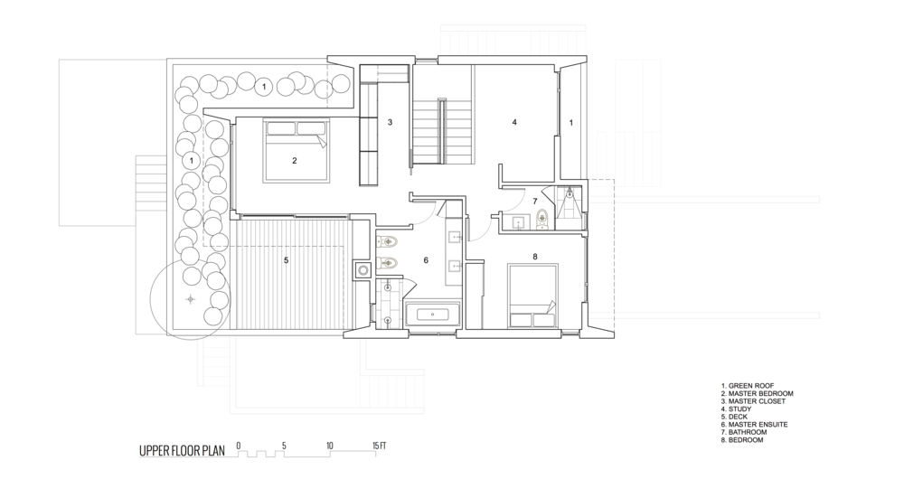 Upper Floor Plan Front View of New Modern House designed and built for an interior urban lot on Clare Street in Victoria BC by MDRN Built