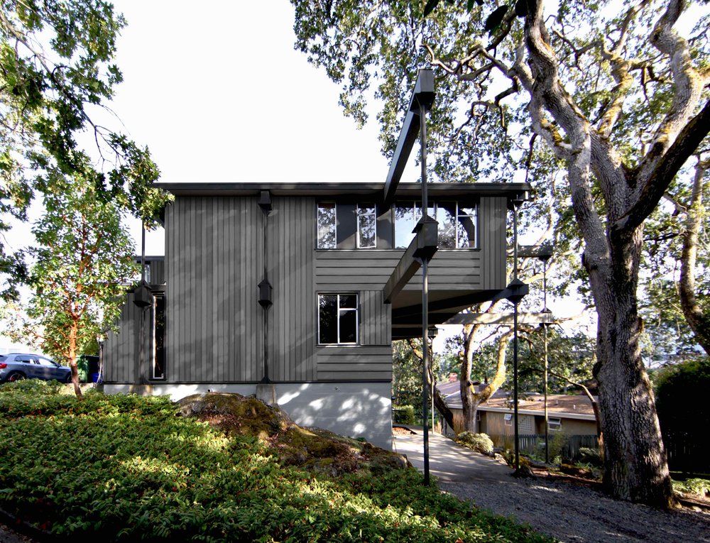 Front View of 1957 Heritage House Remodel in Victoria BC with complete interior remodel by MDRN Built | Thomson House