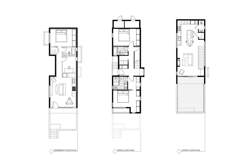 Floor Plan of Sturdee Street Duplex - a Modern duplex designed and built in Saxe Point, Victoria BC