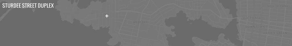 Map of Sturdee Street Duplex - a Modern duplex designed and built in Saxe Point, Victoria BC.