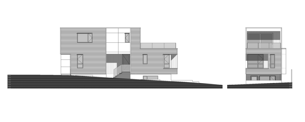 Front and Side Elevation of Sturdee Street Duplex - a Modern duplex designed and built in Saxe Point, Victoria BC