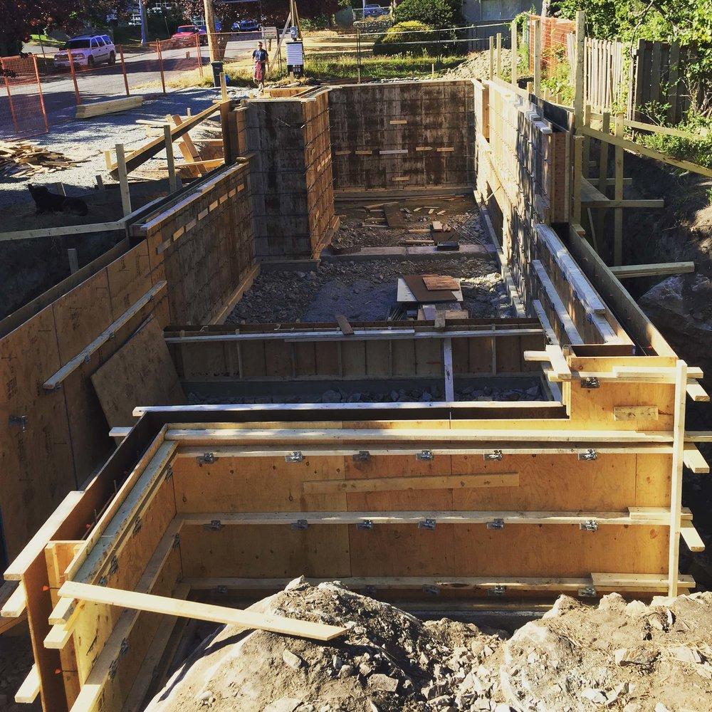 Foundation Construction of Sturdee Street Duplex - a Modern duplex designed and built in Saxe Point, Victoria BC