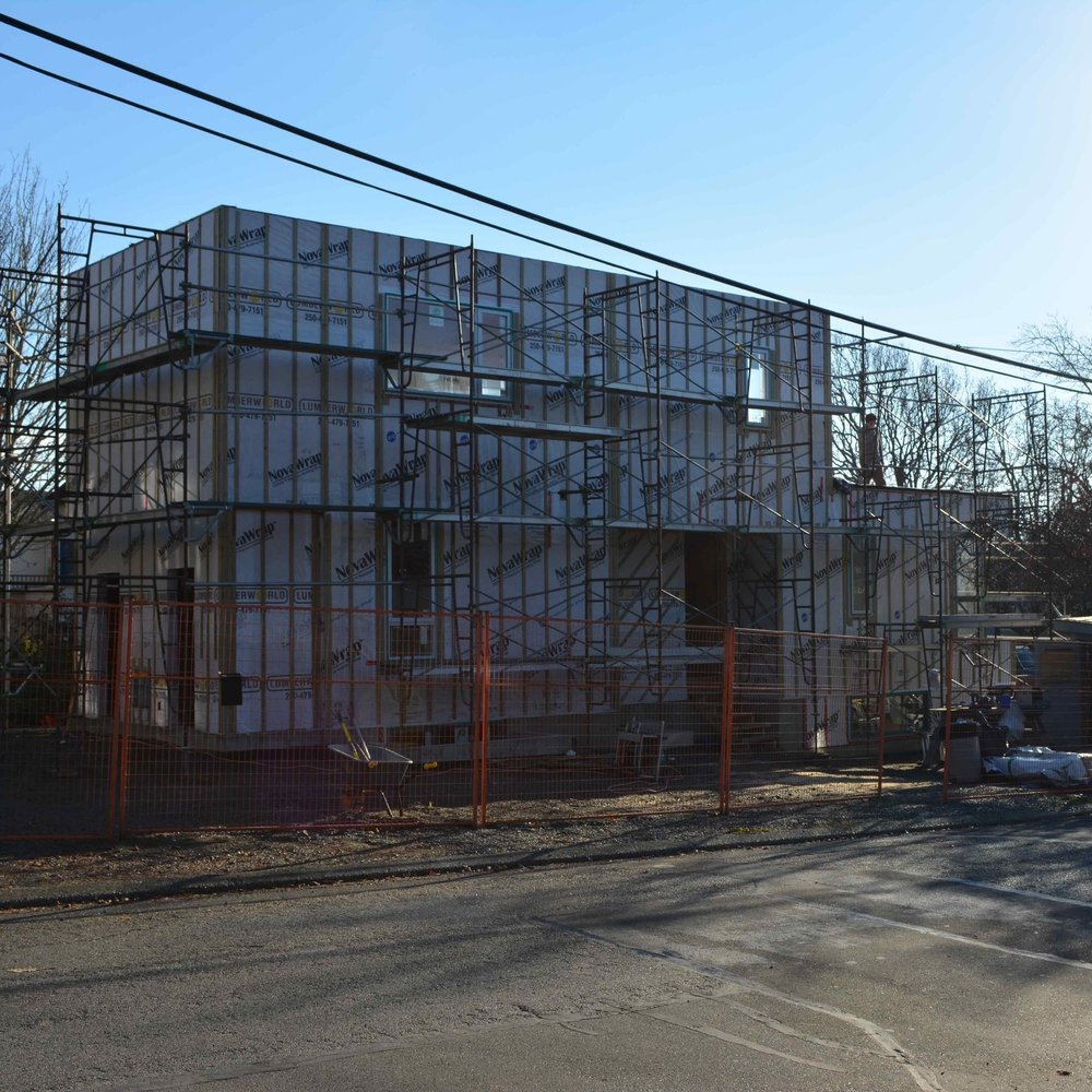 Construction of Sturdee Street Duplex - a Modern duplex designed and built in Saxe Point, Victoria BC