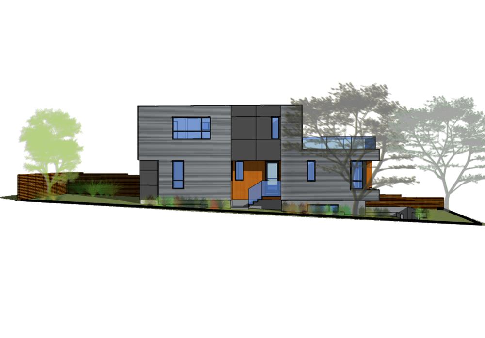 Landscape Plan of Sturdee Street Duplex - a Modern duplex designed and built in Saxe Point, Victoria BC