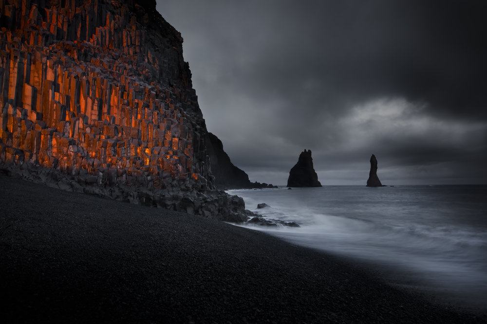 Basaltic columns on a beach around Vik in Iceland