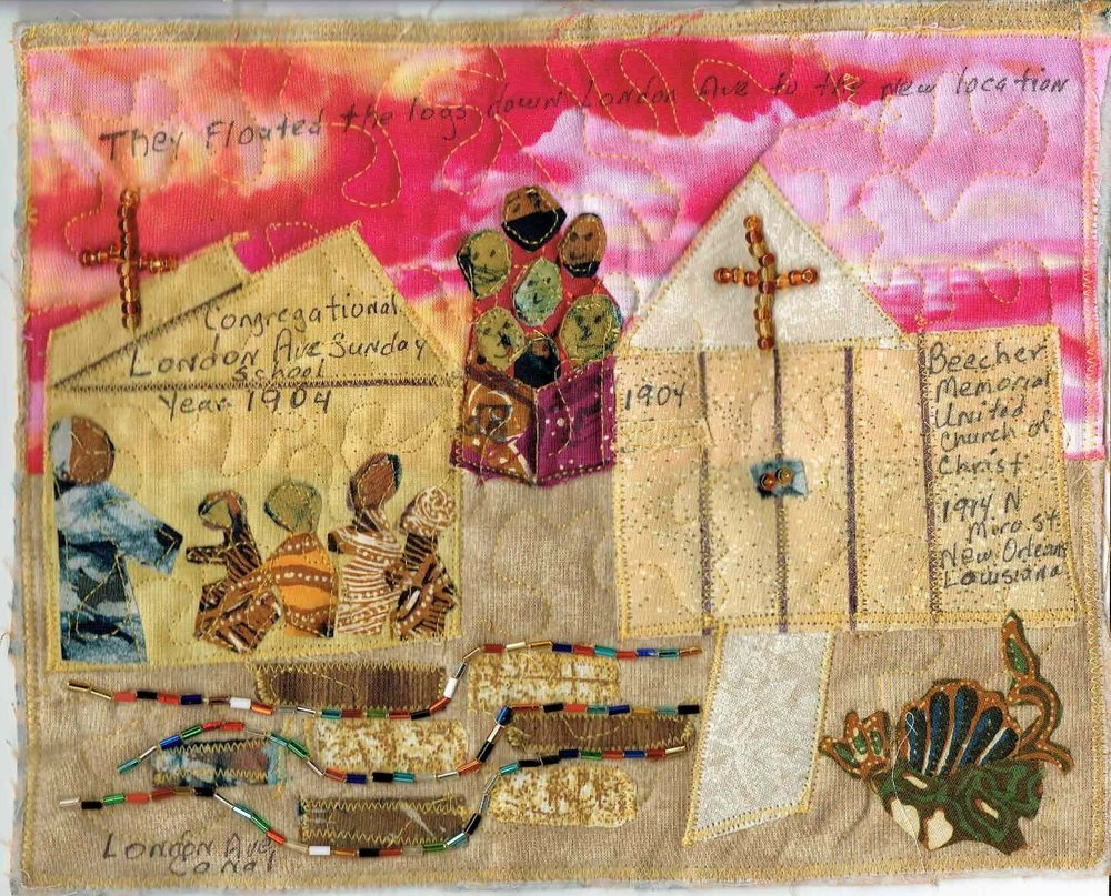 """From Sunday School to Church,"" by Cecelia (Cely) Tapplette-Pedescleaux, October 2017, fabric and mixed media quilt, 7.5"" h x 10"" w"