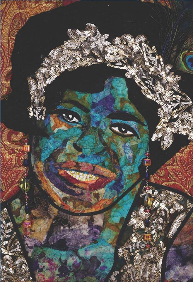 MA RAINEY by  Marla Jackson  2018, Tapestry, gold sequins, black and silver lace. Batik fabrics, peacock feather in her hair.